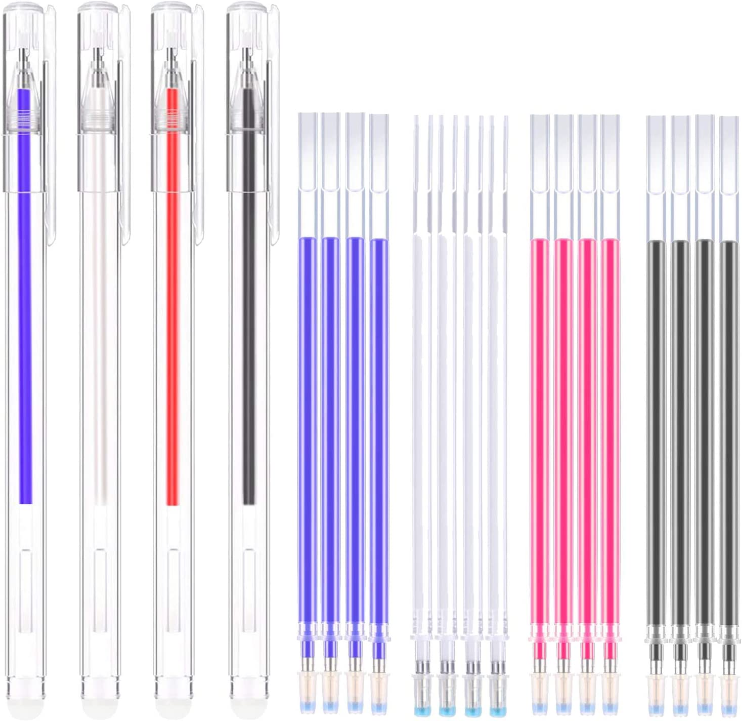 Bolígrafo Borrable de Calor Rotulador Borrable de Tela con para Sastre Costura, y Acolchado, 4 Colores de Marcadores Borrables para Telas de Colores Variados (20)