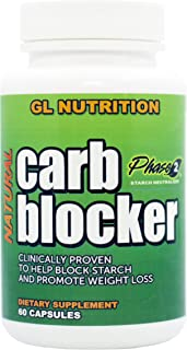 Natural Carb Blocker by GL Nutrition | Naturally Supports Weight Loss, Appetite Control, Stops Carbs & Starch, Promotes Di...