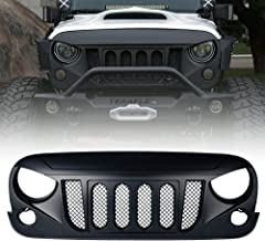 Xprite Front Matte Black Transformer Grille Grid Grill W/Mesh For 2007-2018 Jeep Wrangler Rubicon Sahara Sport JK