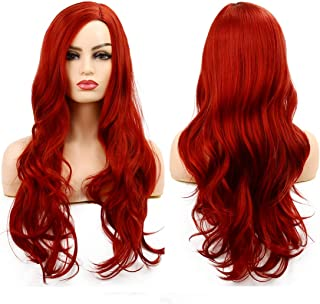 Baruisi Long Curly Wavy Red Wigs for Women Side Part Natural Looking Cosplay Synthetic Fiber Wig Heat Resistant Replacement Wig