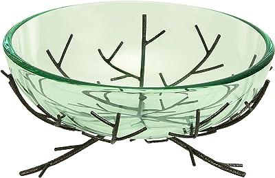 Plutus Brands Glass Bowl Metal Stand Ultimate Modern Furniture Blend