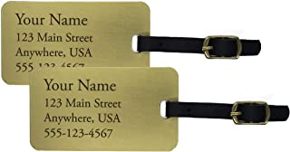 Two Deeply Engraved Jumbo Brass Luggage Tags