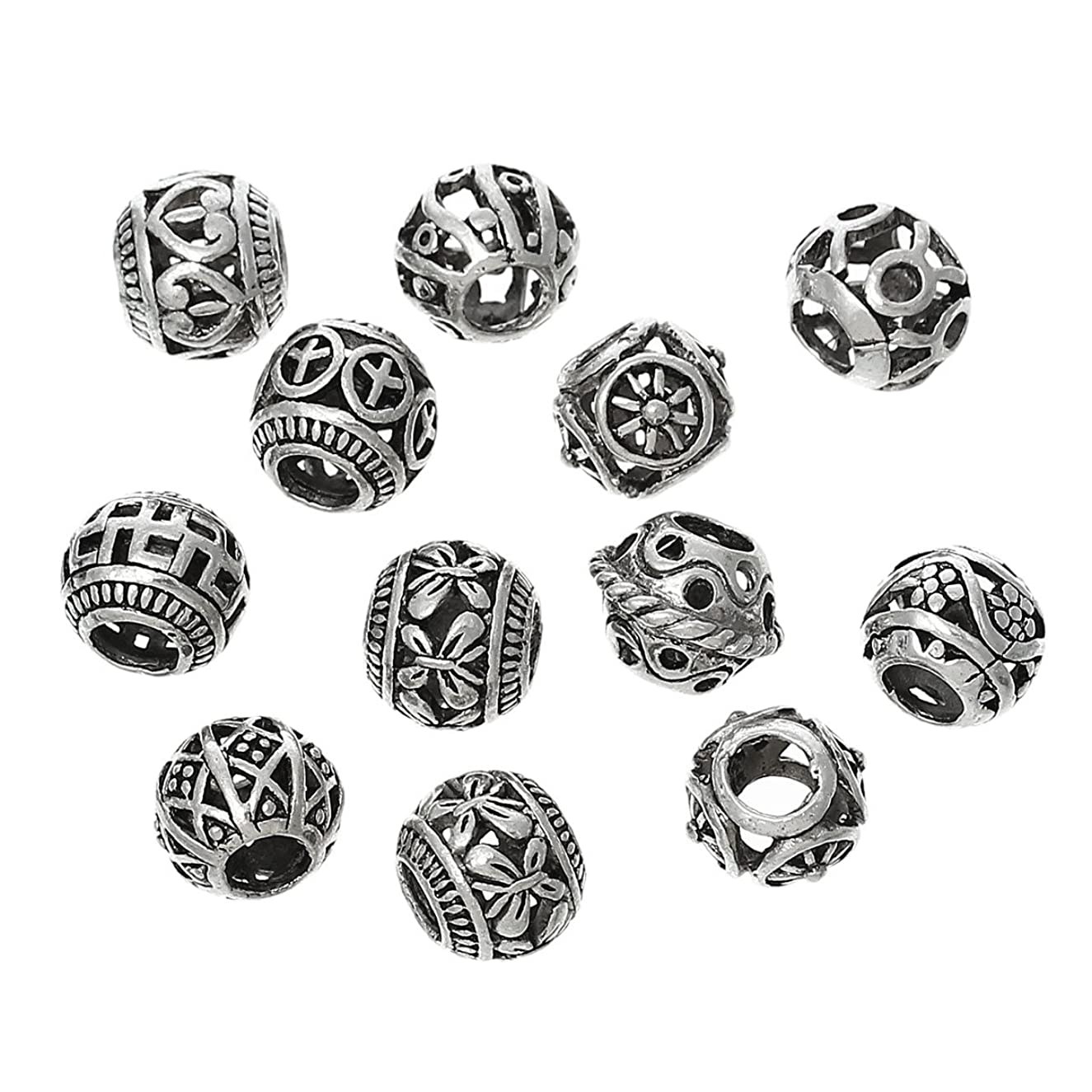 PEPPERLONELY 20pc Antiqued Silver Alloy Large Hole Beads Random Hollow Pattern Charms Pendants 11x9mm (3/8