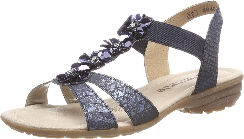 Dorndorf Remonte R3633-14 Woman Sandal bluee Flowers Soft Memory
