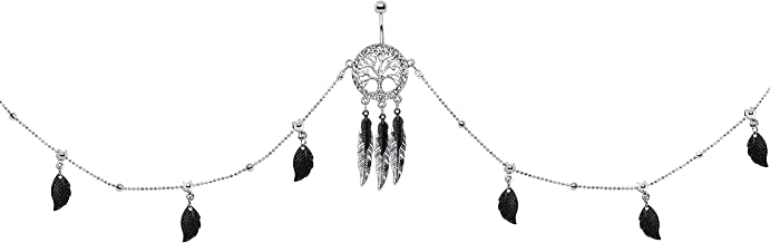 Body Candy Steel Black Accent Feather Charm Tree of Life Dangle Belly Ring Belly Chain 38