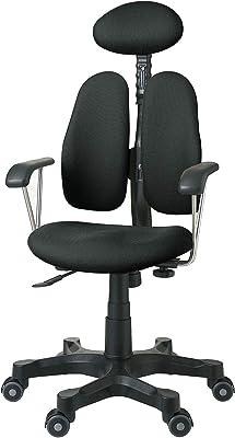デュオレスト オフィスチェア ドットブラック 固定肘 可動ヘッドレスト 腰痛対策 姿勢サポート DR-7900SP 5BKD1