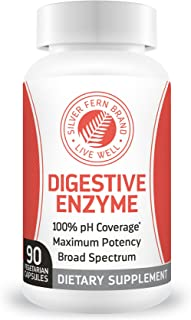 Silver Fern Brand Ultimate Digestive Enzyme Supplement - 1 Bottle - High Potency, Multi Enzyme - Digestive Comfort & Food Tolerance - Hemicullulase, Peptidase, Maltase, More