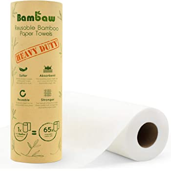 Reusable Paper Towel | Bamboo Eco Kitchen Roll | Multipurpose Eco Cleaning | Strong, Thick and Absorbent | Eco Cloth | Eco Friendly Gifts | Soft on Skin | Quick Dry | 20 Eco Wipes | Bambaw