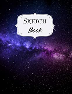 Sketch Book: Galaxy | Sketchbook | Scetchpad for Drawing or Doodling | Notebook Pad for Creative Artists | #8 Black Purple
