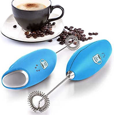 Zulay Original Milk Frother Handheld Foam Maker for Lattes - Whisk Drink Mixer for Coffee, Mini Foamer for Cappuccino, Frappe, Matcha, Hot Chocolate by Milk Boss (I LOVE COFFEE)