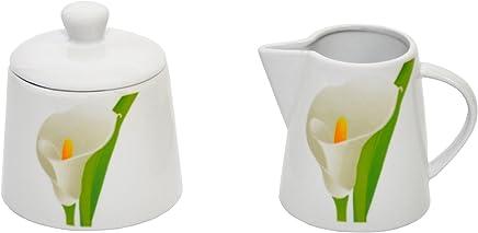 Preisvergleich für Van Well Zucker+Milch-Set Calla, Zuckerdose mit Deckel + Milchkännchen, weißer Blütenkelch, Pflanzendekor, edles Porzellan-Geschirr, Gastronomie