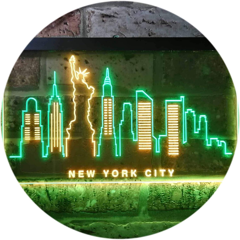 ADVPRO New York City Skyline Silhouette Dual Farbe LED Barlicht Neonlicht Lichtwerbung Neon Sign Grün & Gelb 400 x 300mm st6s43-i3275-gy