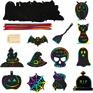 Biubee 48 Pieces Halloween Theme Scratch Paper- Rainbow Scratch Art Paper Card Pumpkin Bat Castle Hats Craft Kit with 24pcs Wooden Styluses and 48pcs Ribbons for Birthday Halloween Party Supplies