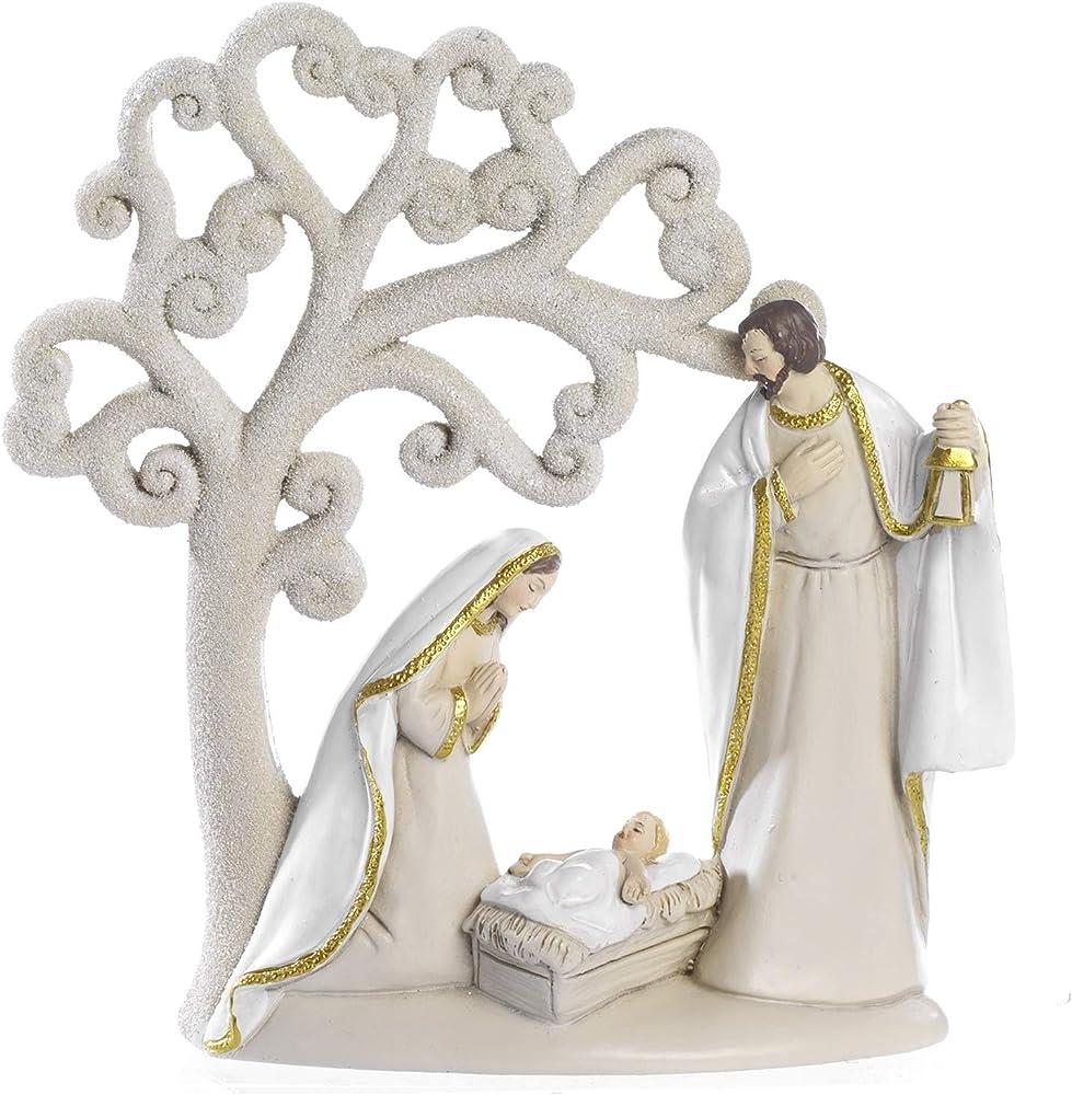 Paben noel presepe natività in resina con albero della vita 15.6 cm
