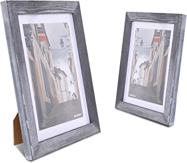 WONFUlity Rustic Frames 8x10 Multi Picture Frame Display Shatterproof HD Front Photo Frame, A Grade Pine Wood Wall Gallery Fr