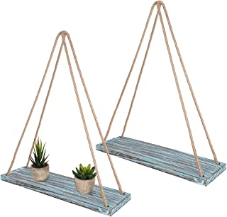 TIMEYARD Wall Hanging Shelf Set of 2 - Teal Blue Distressed Wood Jute Rope Floating Shelves, Farmhouse Organizer Rustic Home Décor