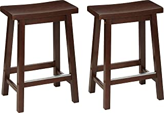 AmazonBasics Classic Solid Wood Saddle-Seat Kitchen Counter Stool with Foot Plate 24 Inch, Walnut, Set of 2