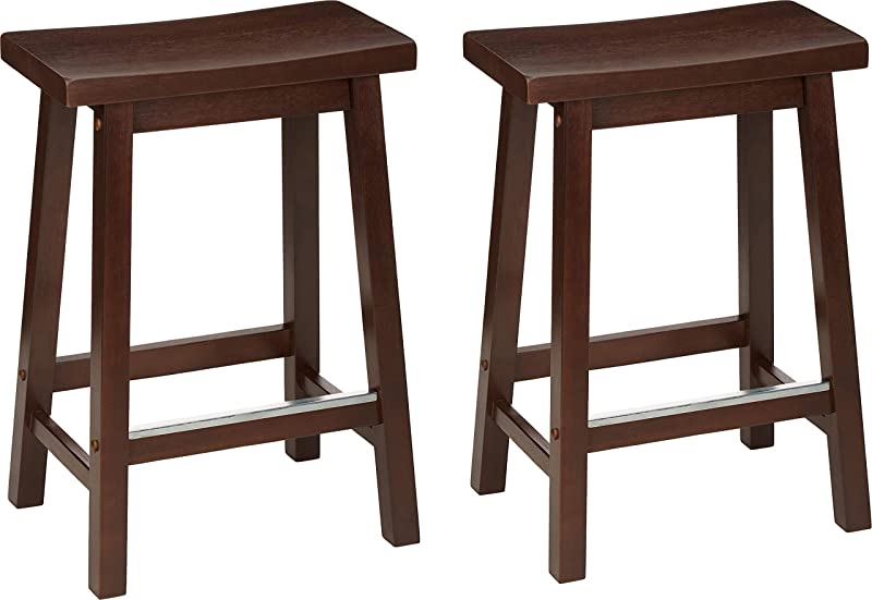 AmazonBasics Classic Solid Wood Saddle Seat Kitchen Counter Stool With Foot Plate 24 Inch Walnut Set Of 2