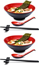 2 Sets (8 Pieces) 34 Ounce Japanese Ramen Noodle Soup Bowl Melamine Hard Plastic Dishware Set with Matching Spoon and Chopsticks for Udon Soba Pho Asian Noodles (2, Red, 7.7 inches)