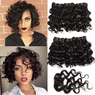 6Pcs Brazilian Deep Curly Weave Short Human Hair Bundles With Closure 100% Human Hair Extensions Short 1B Black Hair Bundles Bob Hair Weave 8 inch