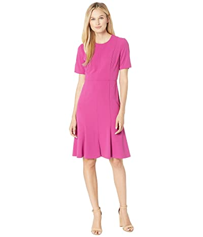 Donna Morgan Crepe Short Split Sleeve Fit and Flare Dress (Raspberry) Women
