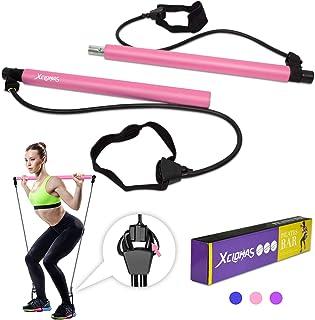 XCLOHAS - Kit de barra de pilates con banda de resistencia + banda elástica portátil de 6 pulgadas para pilates, barra de ...