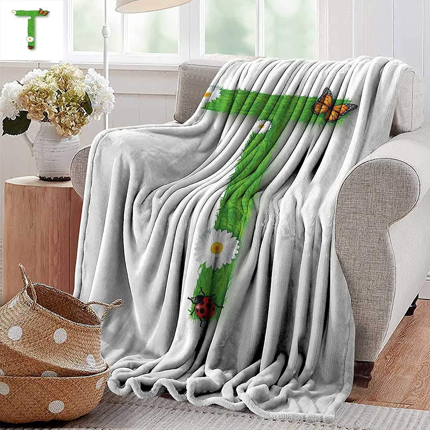 PearlRolan Picnic Blanket,Letter T,Caps T with Flourishing Fragrance Botanical Design and Ladybug Girls Room,Green Multicolor,colorful   Home, Couch, Outdoor, Travel Use 50 x60