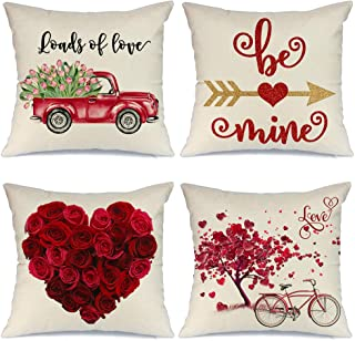 AENEY Valentines Day Pillow Covers 18x18 inch Set of 4 for Home Decor Truck Flower Red Heart and Love Bicycle Decor Valent...