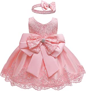 Baby Dress, Bowknot Flower Dresses Lace Pageant Party Wedding Flower Girl Tutu Gown