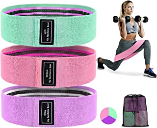 QUANFUN Resistance Bands for Legs and Butt, Fabric Workout Bands Women Men Exercise Fitness Cloth Resistance Loop Bands No...