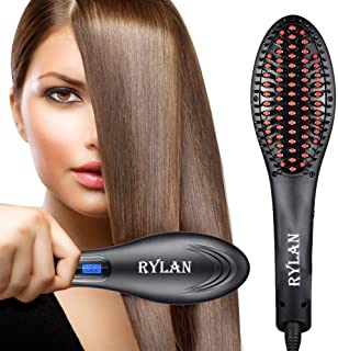 RYLAN Hair Electric Comb Brush 3 in 1 Ceramic Fast Hair Straightener For Women's Hair Straightening Brush with LCD Screen, Temperature Control Display,Hair Straightener For Women(Black)