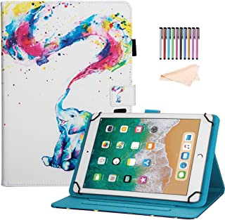 8.0 inch Tablet Case, Universal Protective PU Leather Case Cover for All 7.5-8.5 inch iPad Mini 1 2 3 4,Samsung Galaxy Tab A 8.0/Tab E 8.0, F i r e HD 8, Android iOS Tablet, Rainbow Elephant