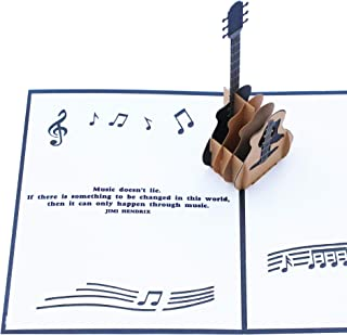 3D Pop up Guitar Card With Jimi Hendrix Music Quote | Great Guitar Art Gift for Guitar Player, Musician or Music Lover for a Birthday or Other Occasion | Black/White (5.1 x 6.3 Inches)