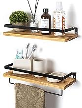 SODUKU Floating Shelves Wall Mounted Storage Shelves for Kitchen, Bathroom,Set of 2 Carbonized Black