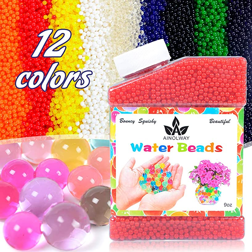 AINOLWAY High Elastic Water Beads Gel Pearls Jelly Crystal Soil for Vase Fillers 4oz Almost 15,000 Pcs (RED)