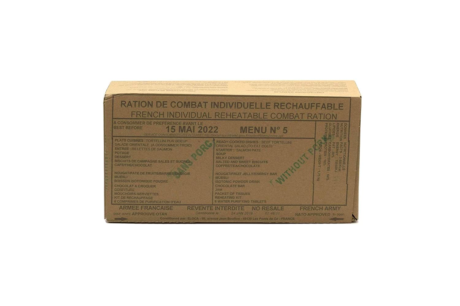 New FRENCH MRE Army Ration Meal Ready To Eat Emergency Food Supplies Genuine RCIR (Menu 9)