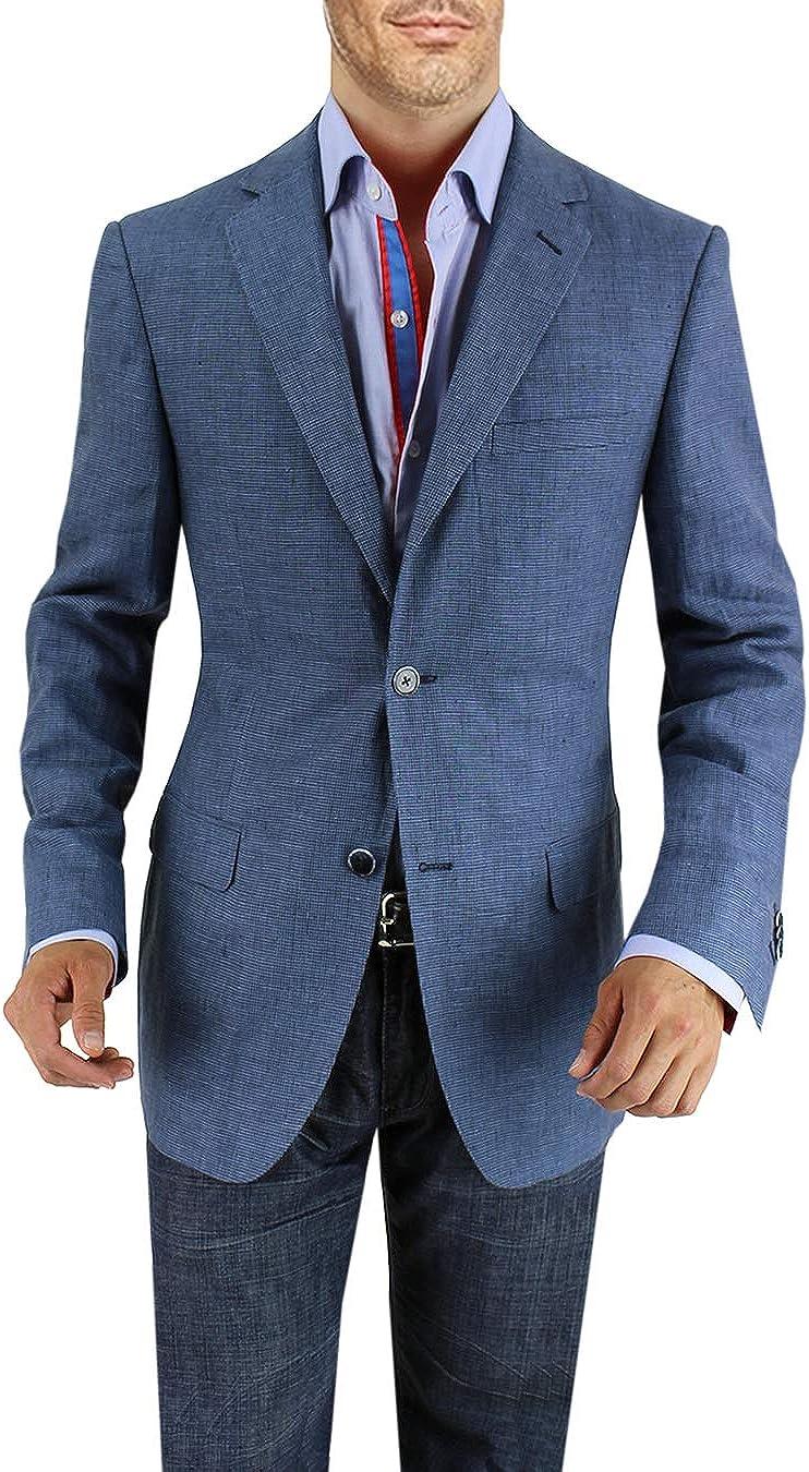 DTI BB Signature Men's Two Button Linen Blazer Modern Fit Jacket
