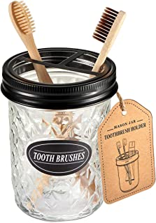 Amolliar Mason Jar Toothbrush Holder - Rustproof Stainless Steel - Holds 2 Toothbrushes and Toothpaste,with Chalkboard Labels - Farmhouse Décor Bathroom Countertop and Vanity Storage Organizer,Black