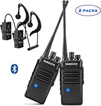Bluetooth Two Way Radios Rechargeable, Long Range 2 Way Radio with Wireless Bluetooth Headset,Sanzuco Two-Way Radio for Security, Outdoor, Office, Hiking (2 Pack)