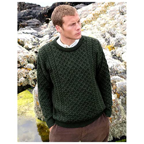 e88fa5d9a 100% Irish Merino Wool Traditional Crew Neck Aran Jumper by Carraig Donn