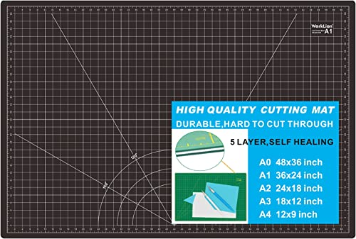 WORKLION Self Healing Cutting Mat: 24 x 36 inch Large Double Sided 5-Layer Gridded PVC Cut Mat for Sewing & Quilting ...