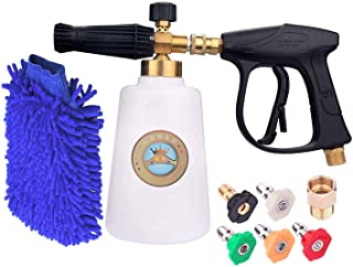 GDHXW X-555 Complete Set Box for car Washing High Pressure Snow Foam Lance 2L Foam Cannon Foam Blaster M22 Thread Conversion Adapter 5 Pressure Washer Nozzles Cleaning Gloves