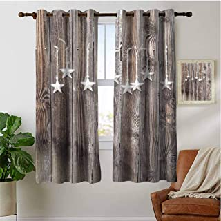 PRUNUSHOME Primitive Country Silver Stars Short Curtains, Insulated Kitchen Window Treatments Decor Thermal Insulated Window Drapes for Light Blocking(Set of 2 Panels,42 by 36 Inch)