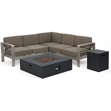 Amazon Com Christopher Knight Home Cape Coral Outdoor V Shaped Sofa Set With Fire Table Khaki Dark Grey Garden Outdoor