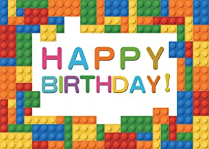 SJOLOON 7x5ft Baby Birthday Backdrop Lego Blocks Photography Backdrop Colorful Birthday Party Decoration Banner for Boy Girl 11496