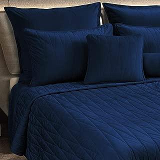 Maison Atlas Velvet Quilt Set, Jewel Premium Velvet Collection, Cotton Backing, Cotton Batting, Twin, Navy