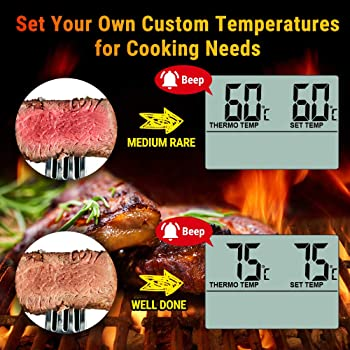ThermoPro TP-16 Large LCD Digital Cooking Food Meat Smoker Oven Kitchen BBQ Grill Thermometer Clock Timer with Stainl...