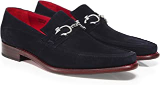 Men's Leather Villian Melly Snaffle Loafers Navy