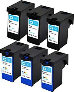 ESTON 6 Pack Inkjet Cartridges For Lexmark 36 and 37 XL Black And Color High Yield Work with Z2400 Z2420 X3650 X4650 X5650