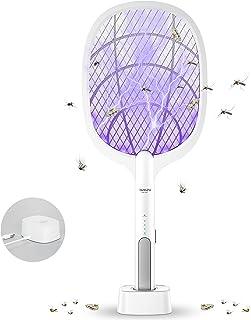 DANGZW Elektrische Vliegenmepper, 2 in 1 3000V USB Oplaadbare Elektrische Vliegenmepper met Oplaadbasis, Elektrische Vlieg...